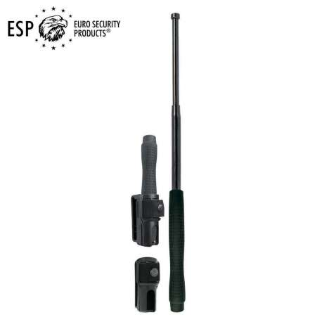 Expandable Baton Ergonomic Hardened Steel - Black