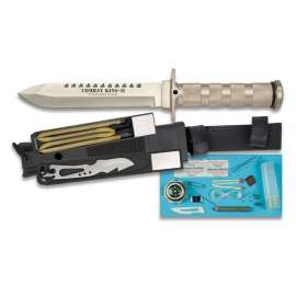 Combat King II Survival Knife - Silver